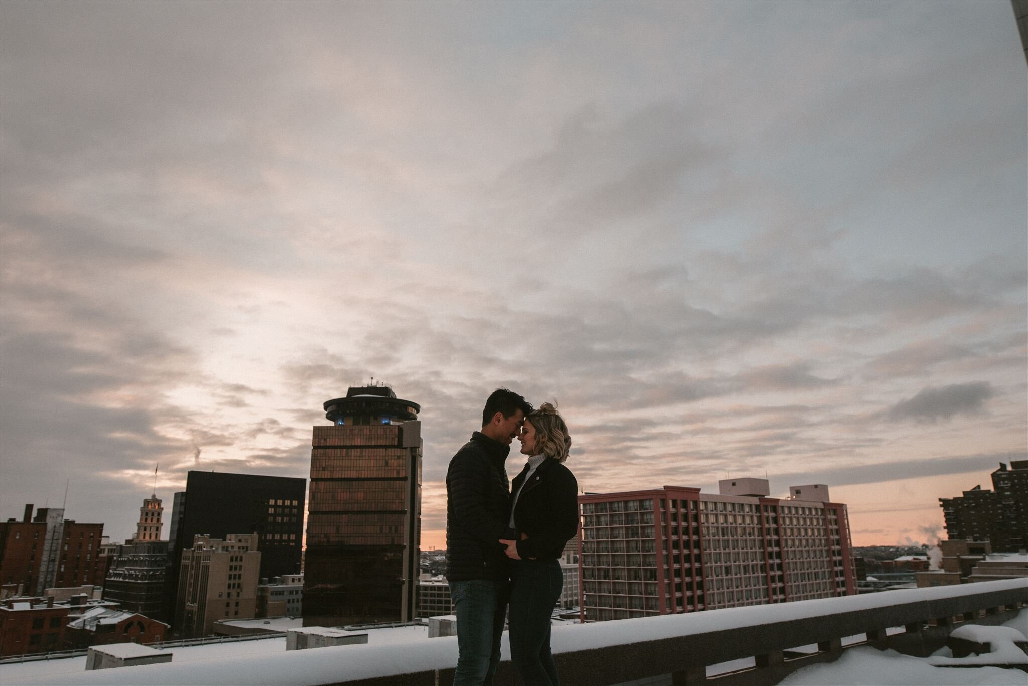 Engagement photo on top of the South Ave parking garage, Photo by Matt Lim