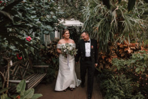 Happy couple just married at the Lamberton Conservatory.