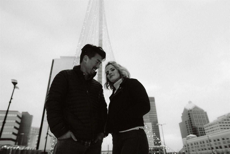 Engagement photo at the Liberty Pole, Photo by Matt Lim