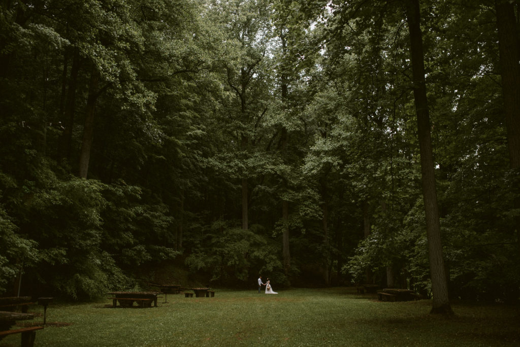 Bride and Groom stand in a open glen.