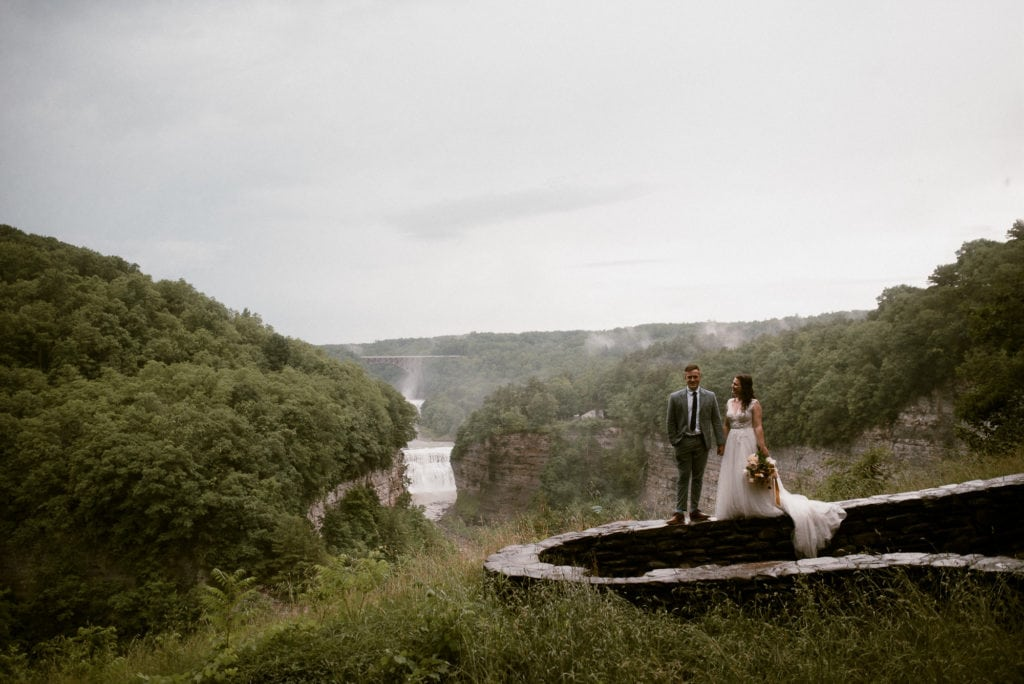 Bride and Groom enjoy the view of Middle Falls from Inspiration Point in Letchworth State Park